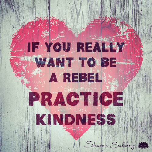 Ein Herz mit der Aufschrift: If you realy want to be a rebel practice Kindness.