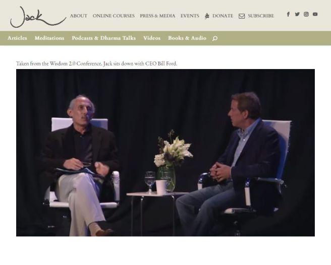 Screenshot der Website von JAck Kornfild: im Bild: Jack Kornfield und bill Ford