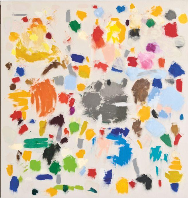Bild von Jerry Zeniuk im Museum WiesbadenHelle leinwand mit farbigen Flächen